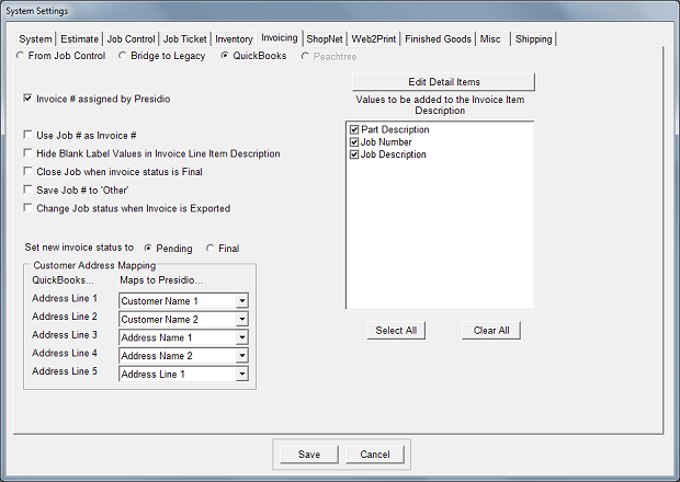 Ch System Settings Invoicing Printers Software Inc - Quickbooks invoice status